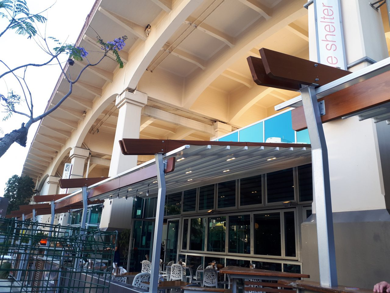 outdoor awning Motorised-Waterproof-Retractable-Louvre-Roof-System-Terrace-Pergola-LED-Lighting-Rooftop-Bar-Brisbane