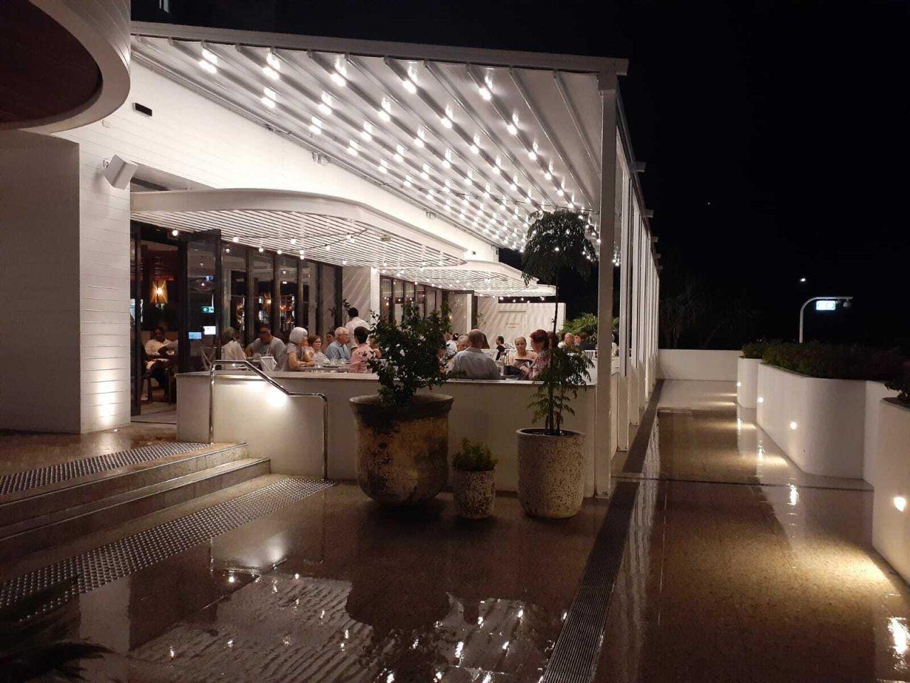Commercial Awnings Motorised-Waterproof-Retractable-Louvre-Roof-System-Terrace-Pergola-LED-Lighting-Rooftop-Bar-Brisbane
